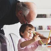 Grandkid and grandparent painting