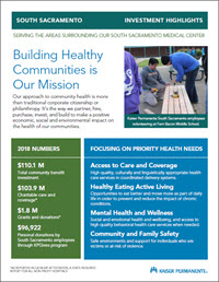 Sacramento printable snapshot of our community investments