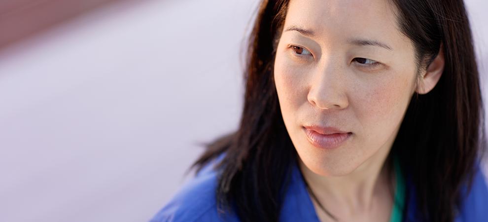 Psychiatry asian woman closeup