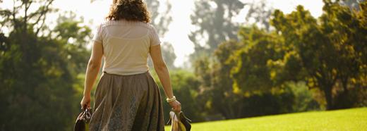 back of woman walking