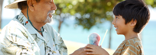 man and boy with ice cream