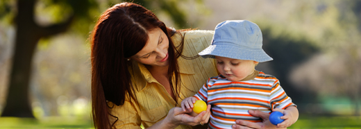 woman with child in hat