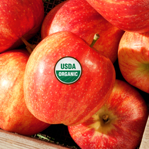 Apples with USDA organic label