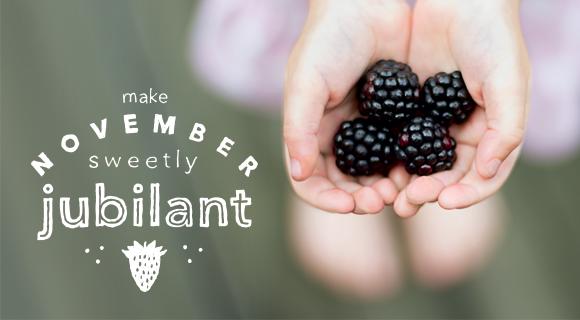 Women holding blackberries with text on image