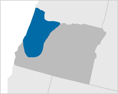 Map of Oregon showing Kaiser Permanente coverage areas around greater Eugene, Portland and Salem