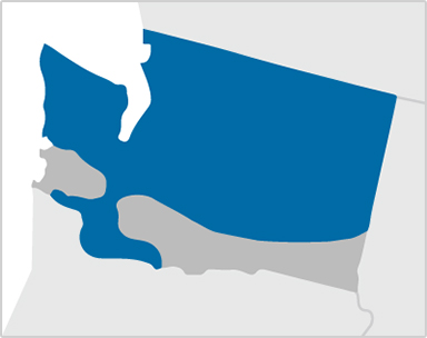 Map of Washington showing Kaiser Permanente coverage areas encompassing most of the state with the exception of  South Eastern Washington