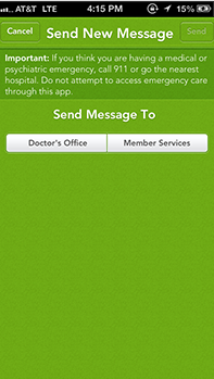 Email your doctor mobile screen