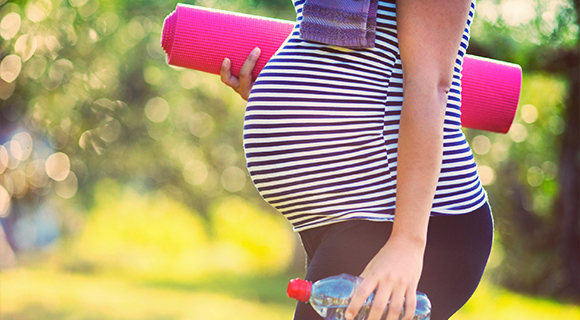 Pregnant woman going to exercise.