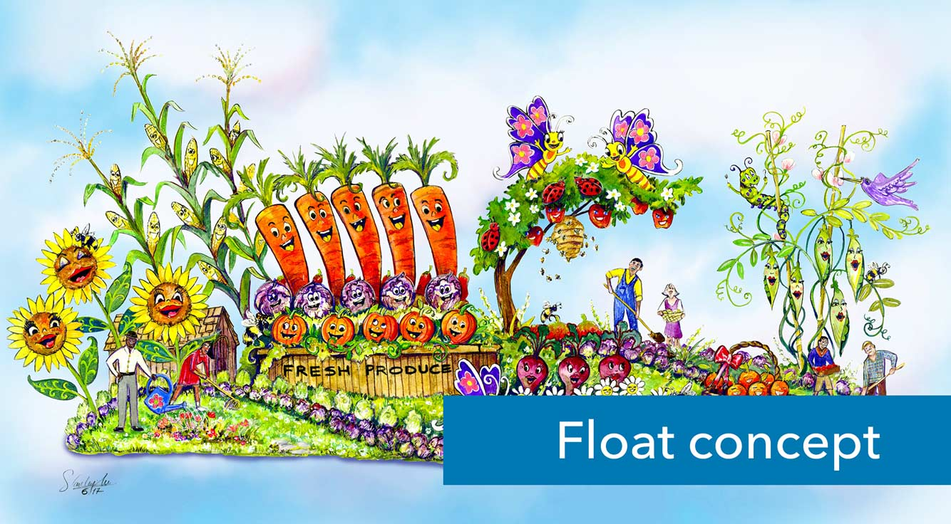 A rendering shows a colorful parade float.