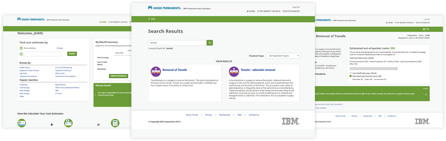 Example screenshots of how to search for the estimated costs of procedures according to your health care plan on the IBM treatment cost calculator.