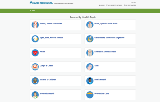 Kaiser IBM treatment cost calculator that lets you browse by health topic