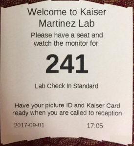 Example of a Walk-in ticket