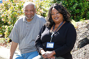 Kaiser Permanente member James McNorton with Toni Deering, RN, at the Kaiser Permanente Medical Center in Martinez.