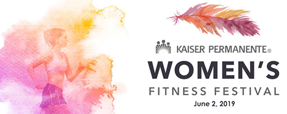 Graphic with Women's Fitness Festival Logo, stylized image of woman running and date of event - June 2, 2019.