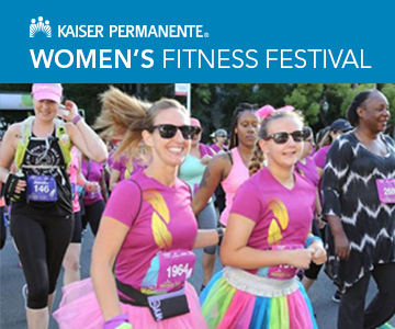 A photo of two women running in Women's Fitness Festival, with the event name and Kaiser Permanente logo.