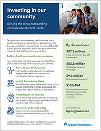 Roseville printable snapshot of our community investments