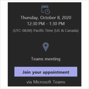 Sample image of an email containing a Microsoft Teams link.