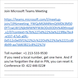 Sample image of a KP Secure Message containing a Microsoft Teams link.