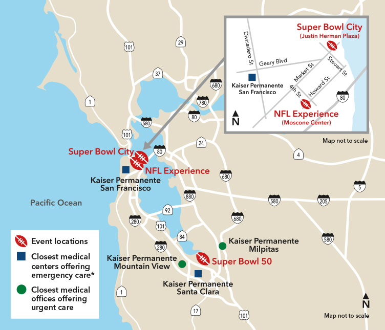 Map Of California Hospitals.Nfl Family Services At Kaiser Permanente San Jose