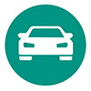 White car graphic in a teal circle, icon representing safe driving