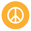 White peace sign in a yellow circle, icon representing violence prevention