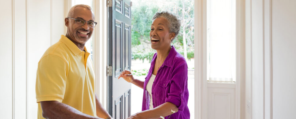 African American Middle Age Couple Smiling