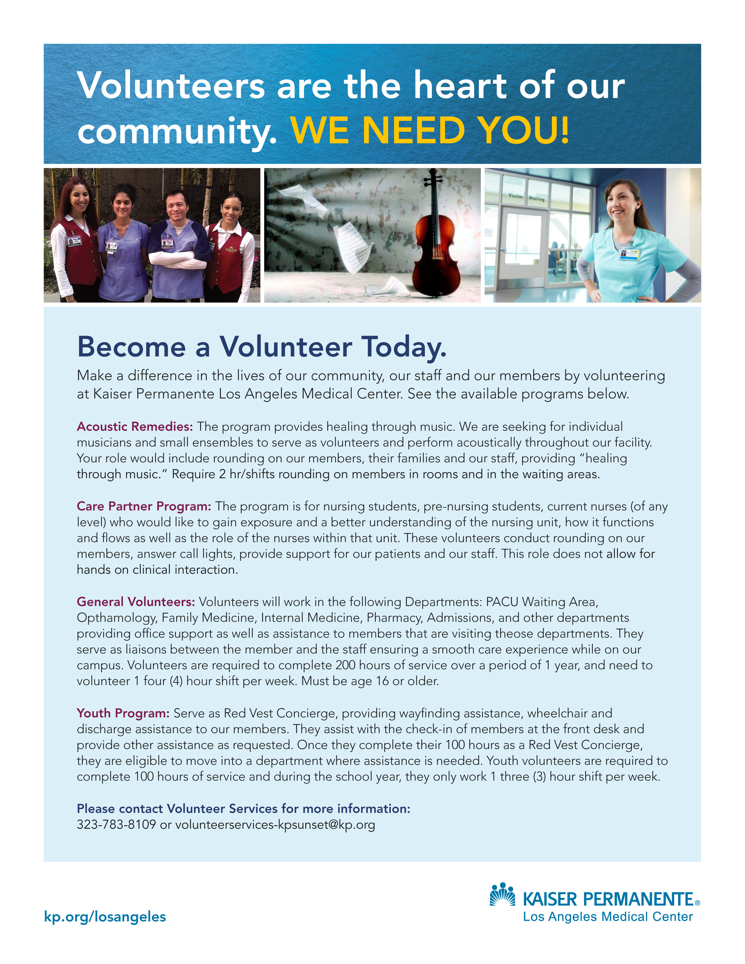Los angeles health care kaiser permanente volunteers are the heart of our community become a volunteer today falaconquin